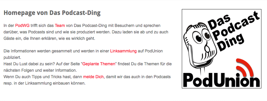 PodUnion – Das Podcast Ding Podcast
