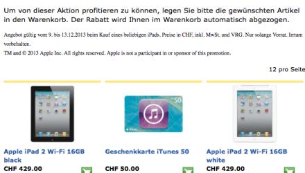 Schweiz - Kostenlose iTunes Karte beim iPad kauf