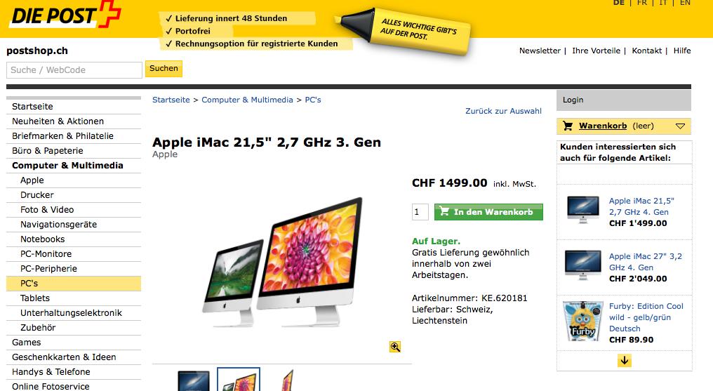 Ausverkauf beim Postshop – iMac und iPods vergünstigt kaufen