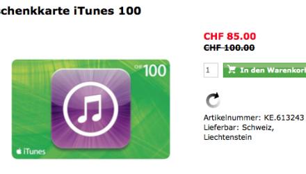 Schweiz iTunes Gutschein Aktion