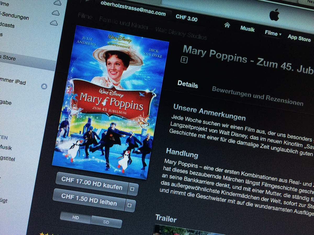 iTS Film der Woche «Walt Disney – Marry Poppins»