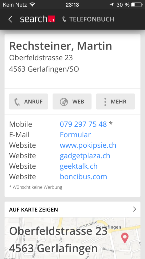 iOS «Search.ch» endlich das Redesign auch in der App