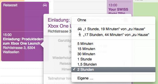 OS X Kalender-Einträge mit Reisezeit versehen