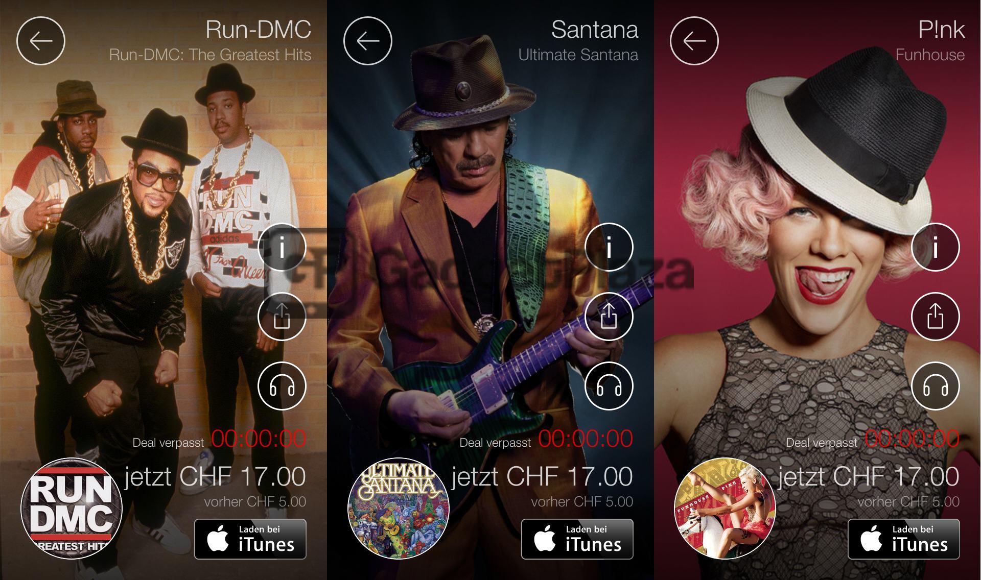 iOS «Album des Tages» täglich Musik günstiger kaufen