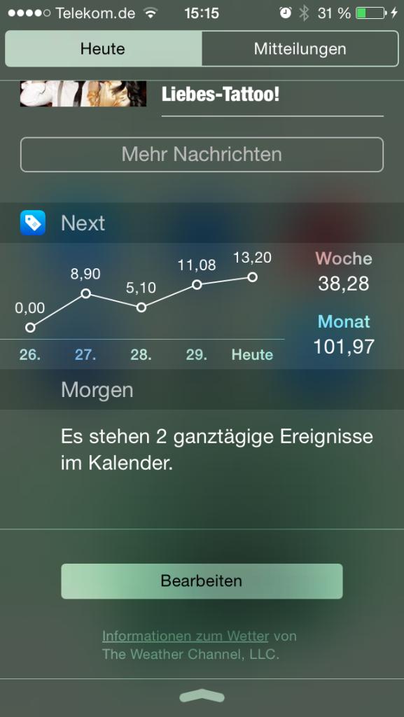 iOS «Next für iPhone» - Kontrolliere deine Ausgaben und Finanzen