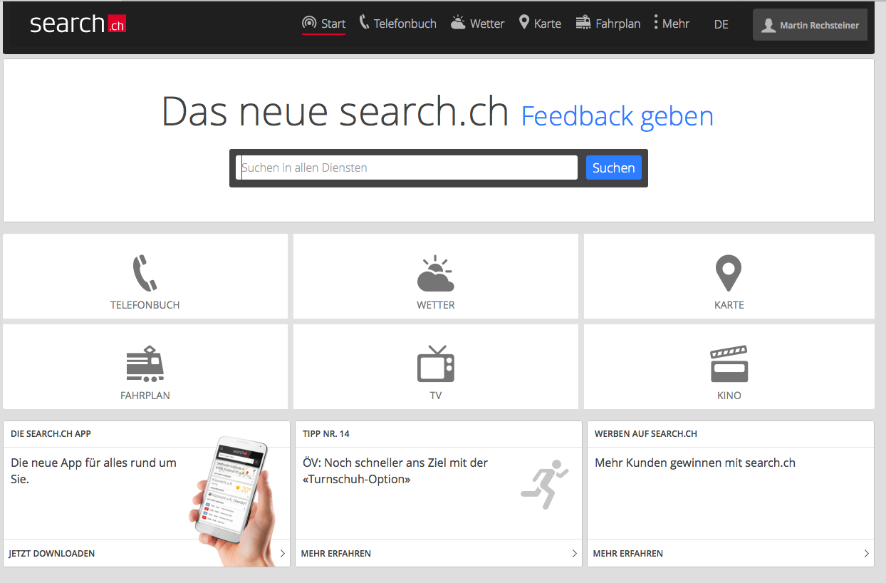 Search.ch – Redesign erreicht nun auch den grossen Browser
