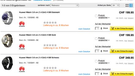 Huawei Watch Preise in der Schweiz ab CHF 199.95
