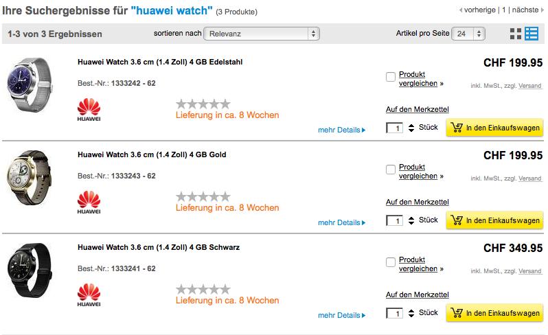 Update – Huawei Watch Preise in der Schweiz ab CHF 199.95
