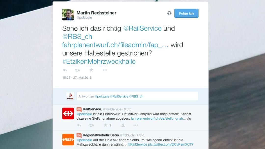 So funktioniert Social Media – Danke an @railservice und @RBS_CH