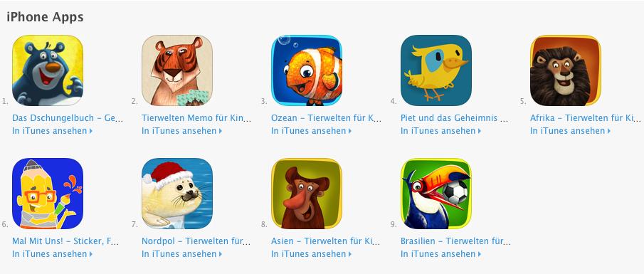 iOS Apps4Kids mit neun kostenlosen Apps