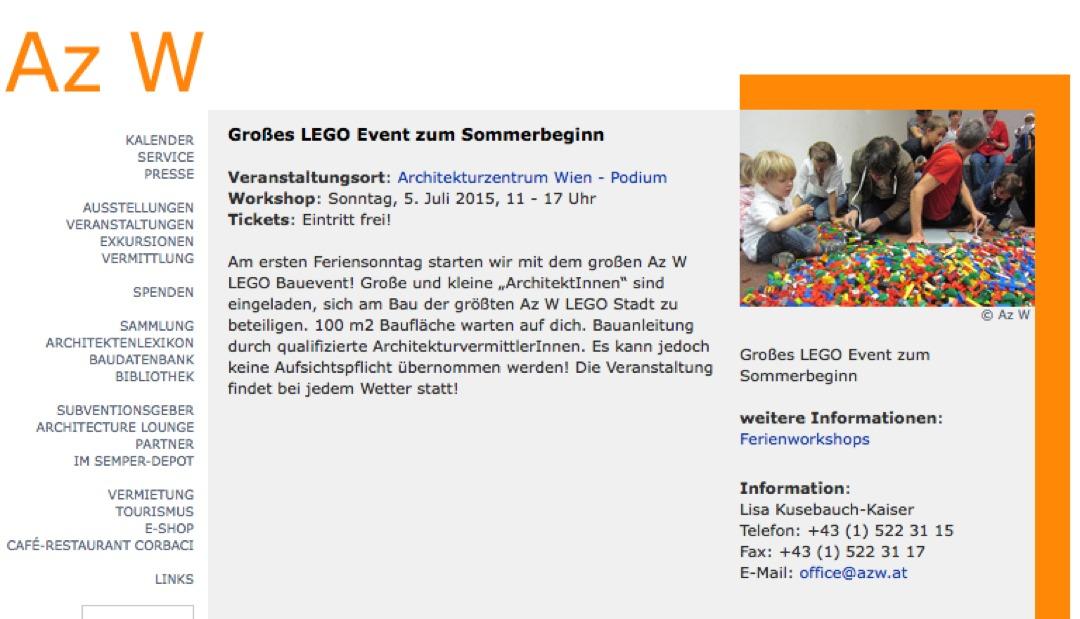 05.07.2015 – LEGO Bauevent im Architekturzentrum Wien