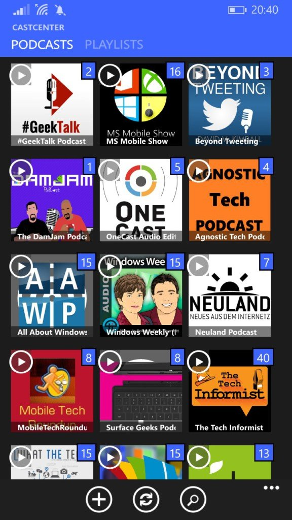 «CastCenter» - Podcast App für Windows Phone