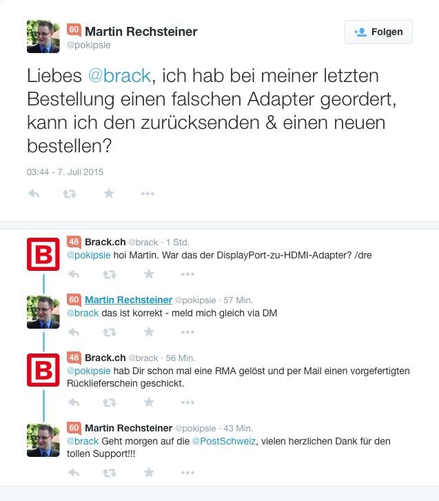 Geiler Support bei @brack - Support via Twitter