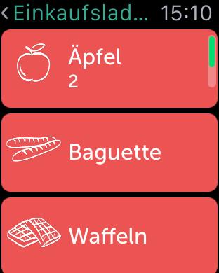 Bring Einkaufs App auf der Apple Watch