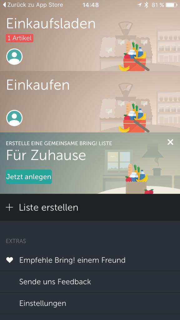 Bring Einkaufs App auf dem iPhone