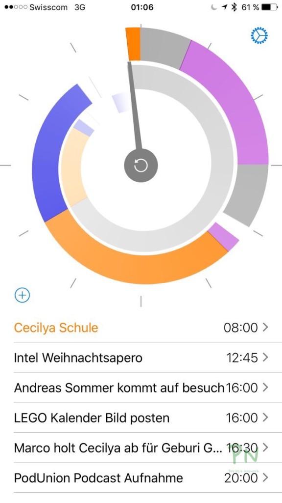 Future - Kalender Einträge im Kreisformat