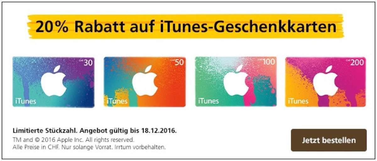 20% Rabatt auf iTunes Gutscheine