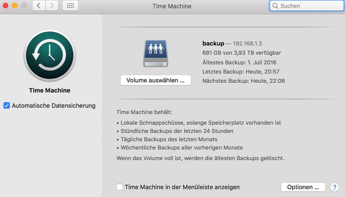 Einstellungen der TimeMachine unter OSX