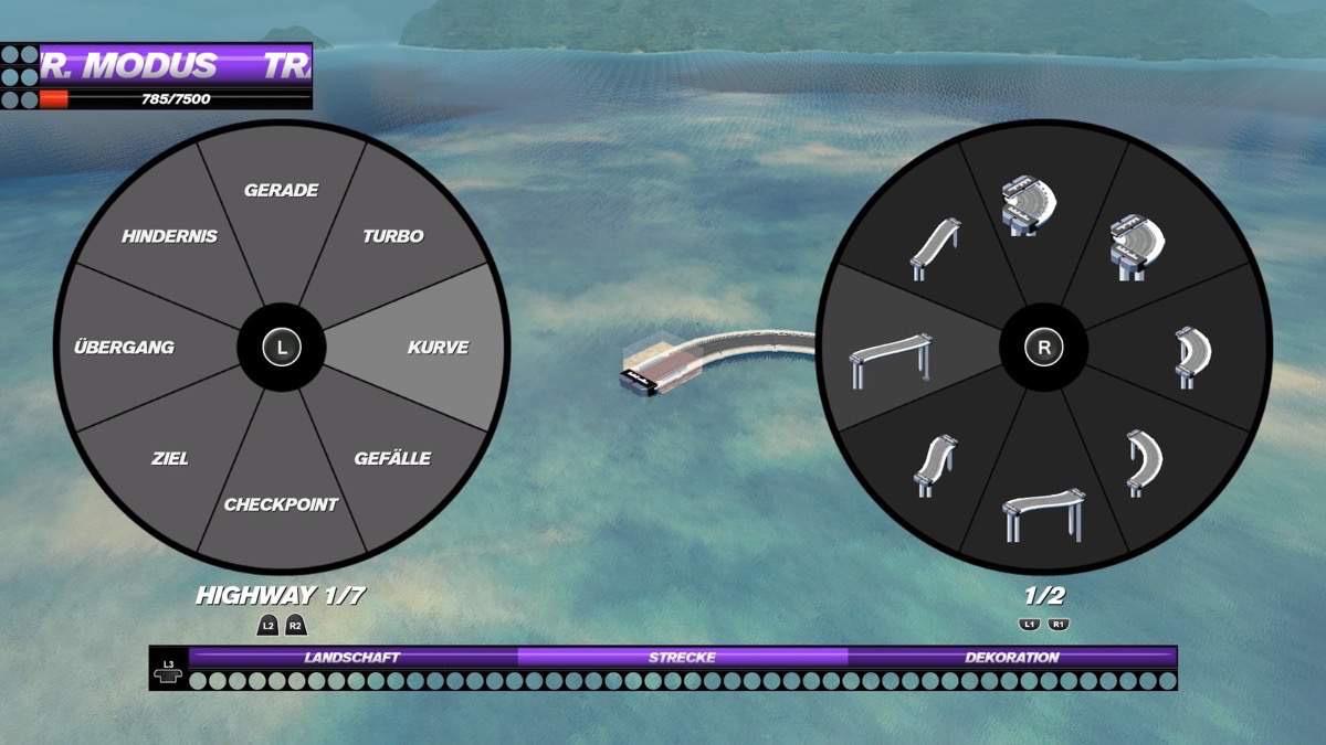Bild 3 - Im Streckeneditor können die wildesten Pisten gebaut werdenBild 3 - Im Streckeneditor können die wildesten Pisten gebaut werden
