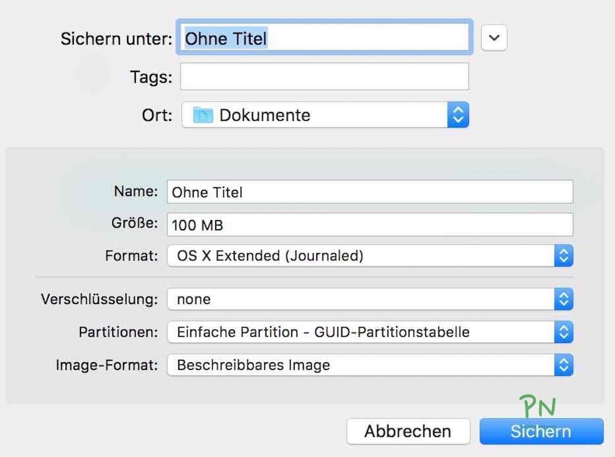 Festplattendienstprogramm 3 - Verschlüsselte Images