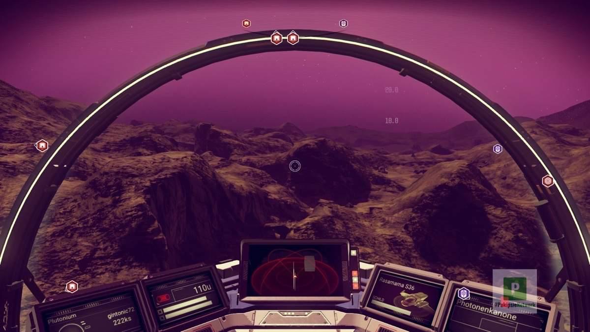 Nachtflug über einen Planeten