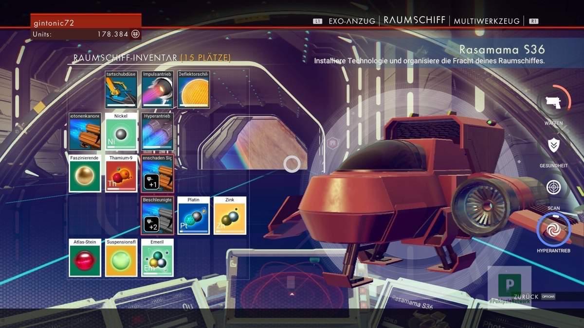 Das winzige Inventar des Raumschiffes