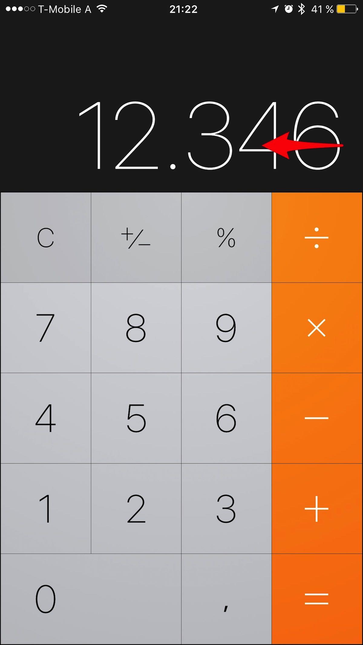 Kurztipp – iPhone Taschenrechner – Falsche Eingaben korrigieren