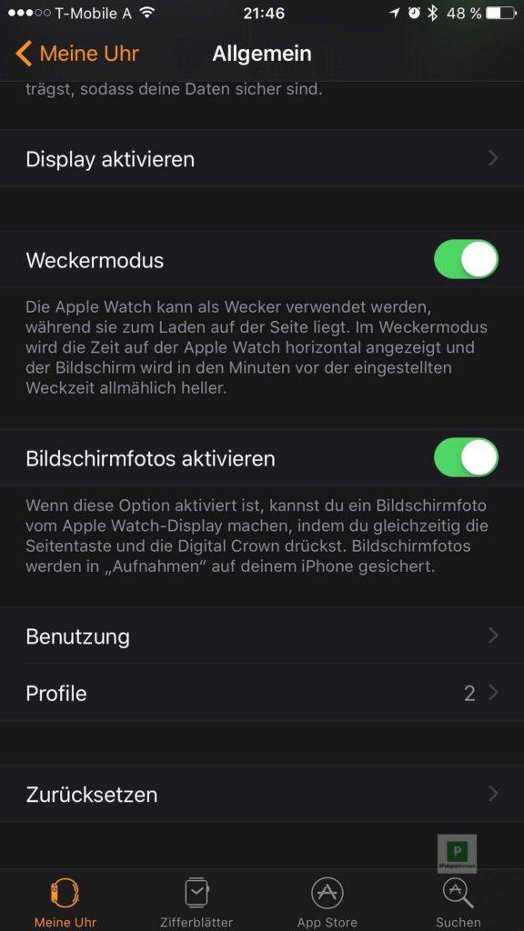 Apple Watch App auf dem iPhone - Allgemein - Screenshots aktivieren