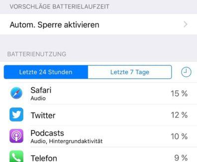 Akku Probleme? Stromverbrauch unter iOS checken