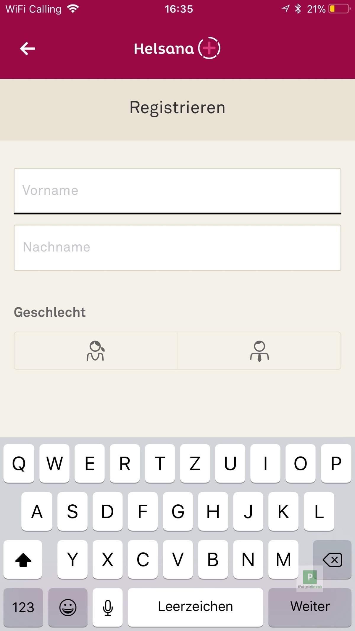Registrierung des Konto für die Bonus App