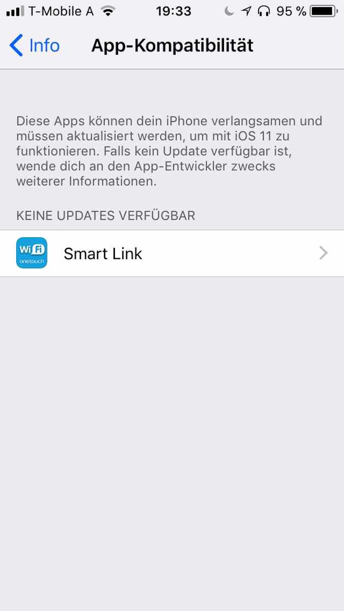 Nicht kompatible Apps