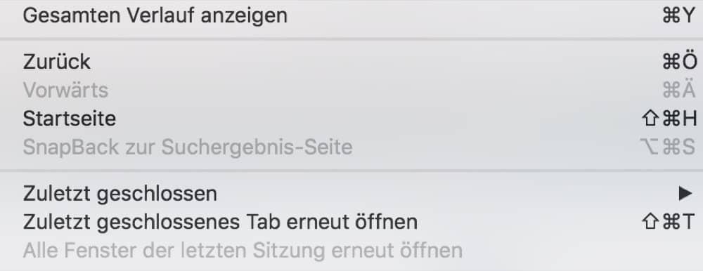 Zuletzt geschlossenen Tab macOS
