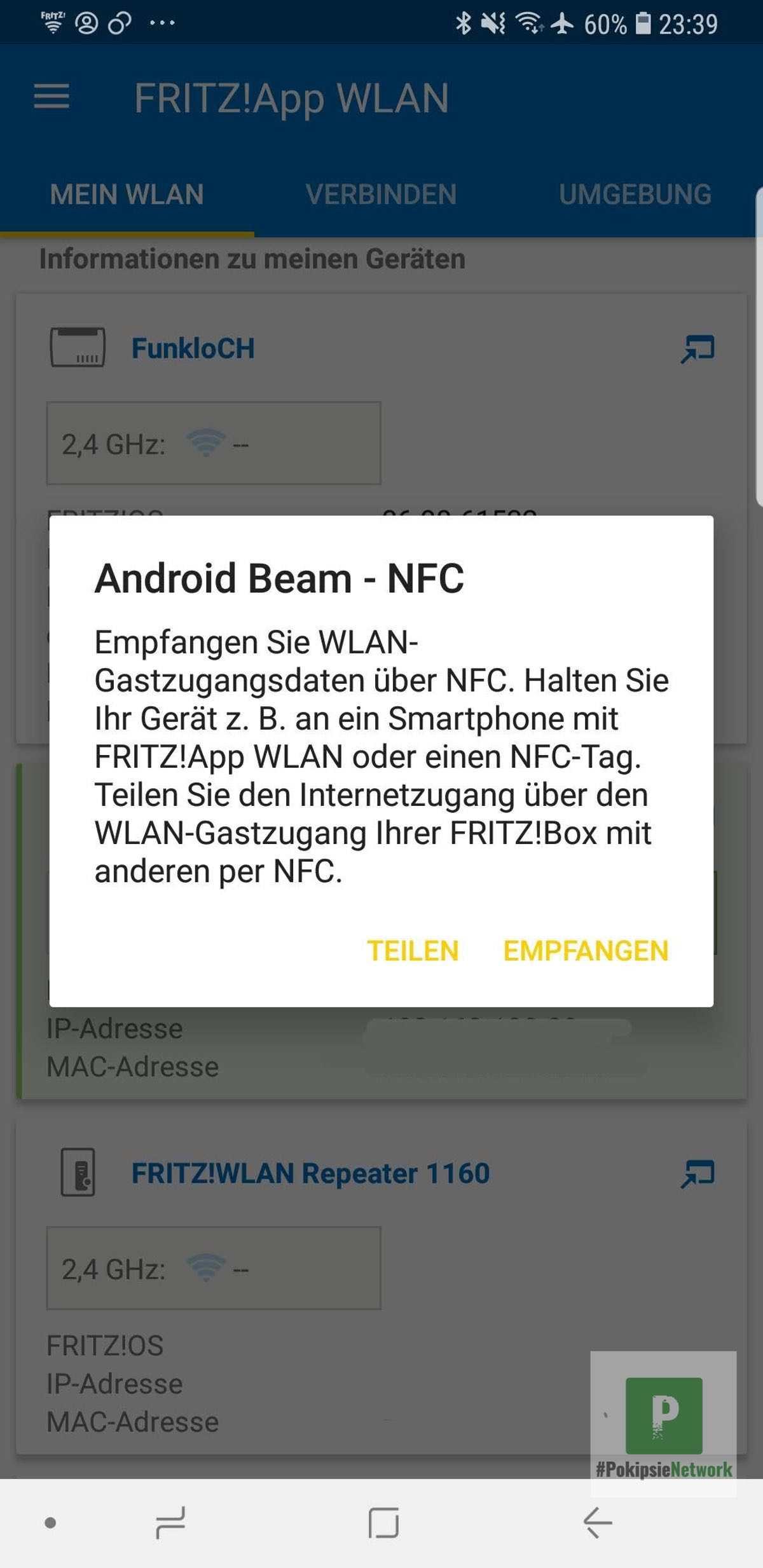 WLAN-Daten über NFC übergeben
