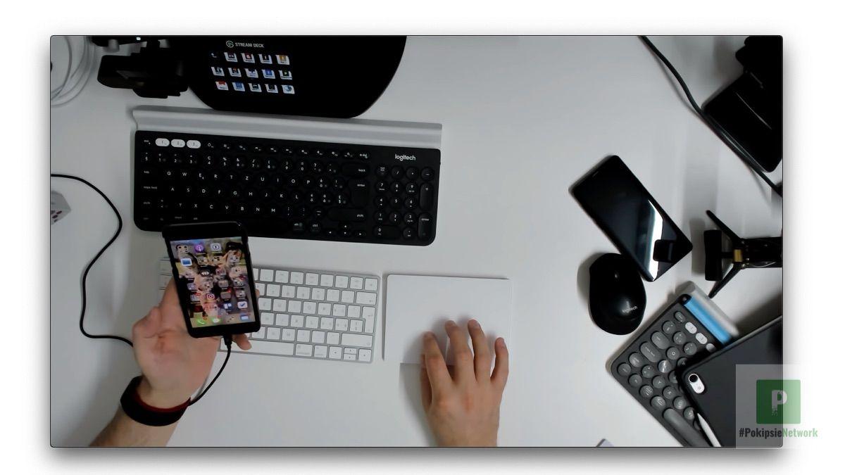 Im QuickTime Fenster das iPhone auswählen
