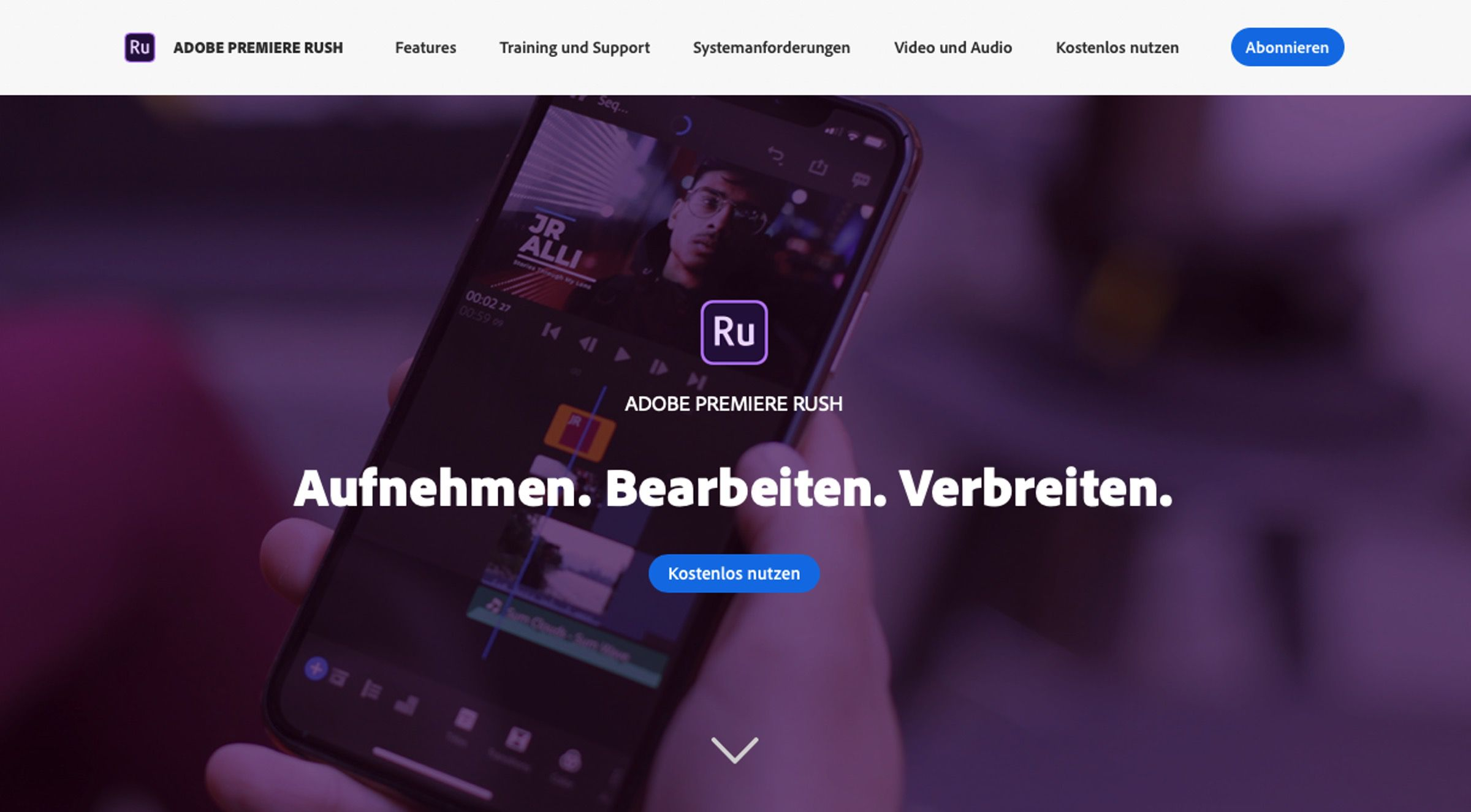 Endlich für Android Adobe Premiere Rush