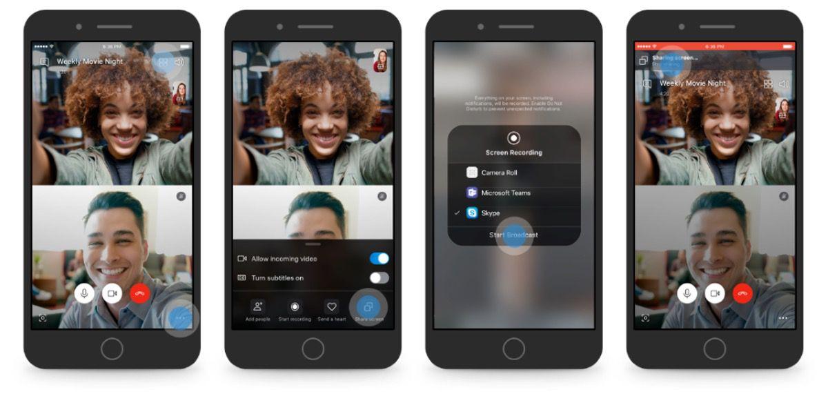 Die Bildschirmfreigabe in Skype für Android und iOS