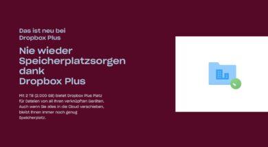 Dropbox Plus – Jetzt mit 2 GB Speicherplatz dafür auch teurer