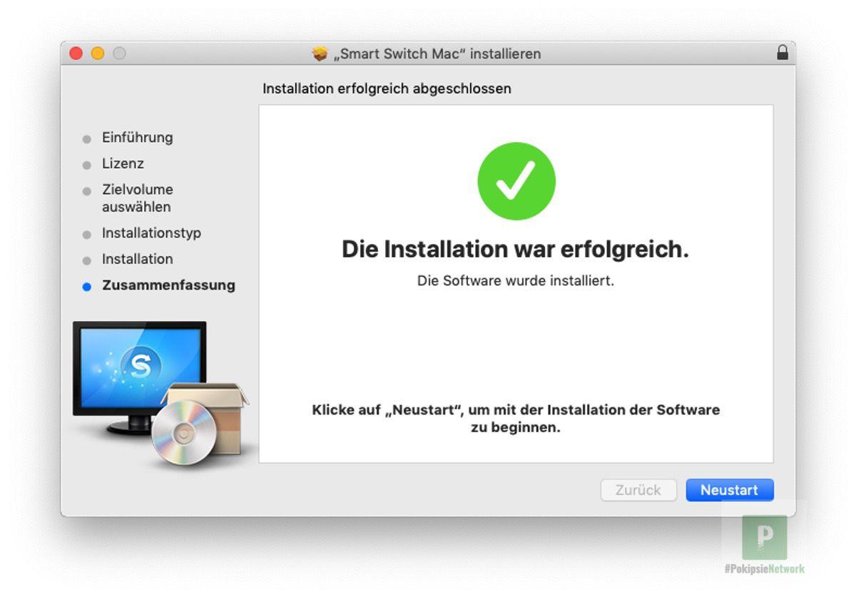 Nach der Installation möchte Samsung einen reboot von meinem Mac