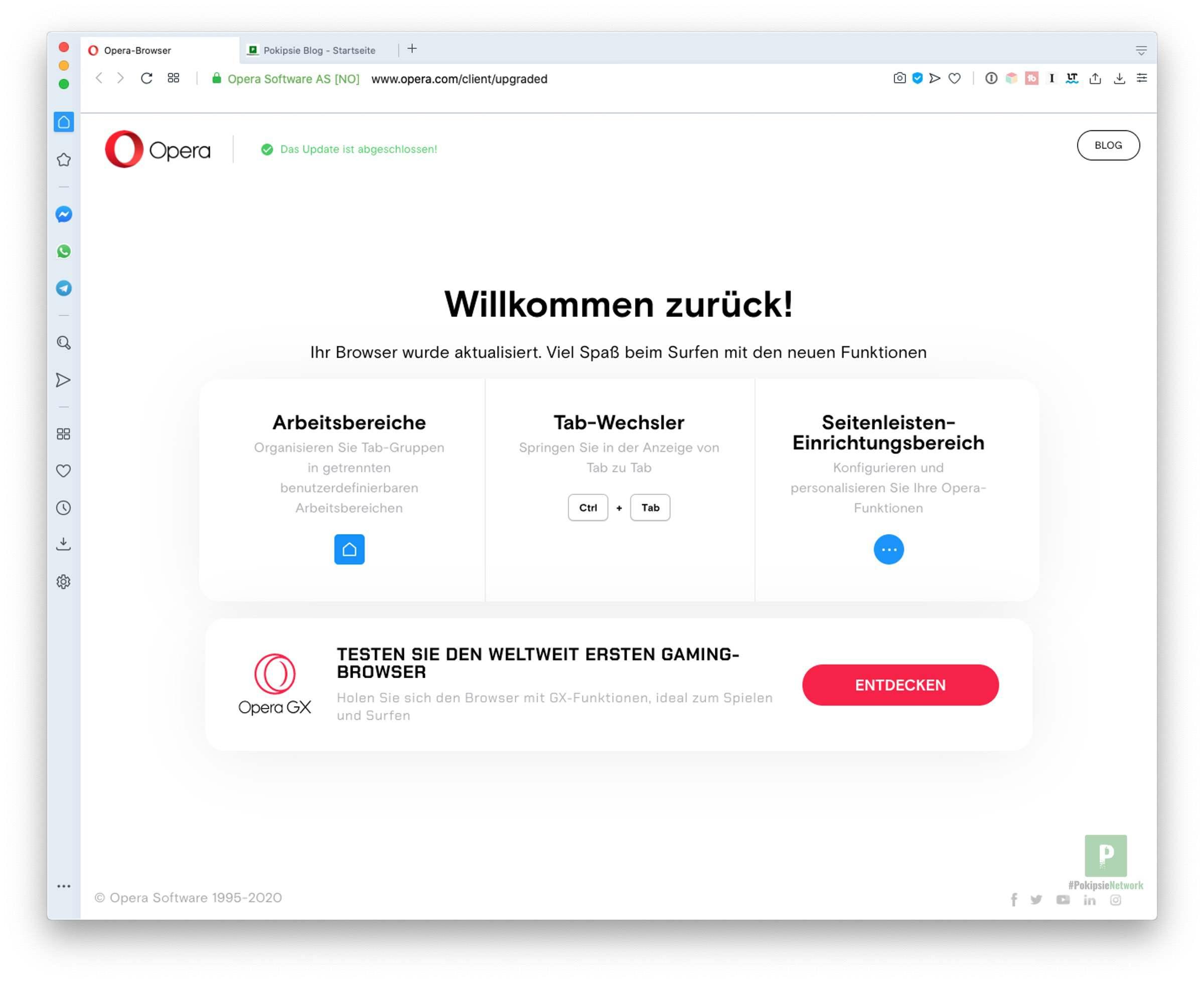 Opera 67 – Organisiere deine Tabs mit Arbeitsbereiche