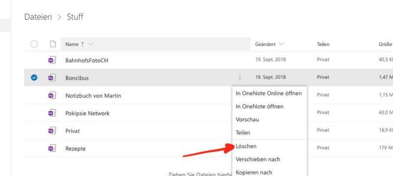 Die Dateien aus OneDrive löschen