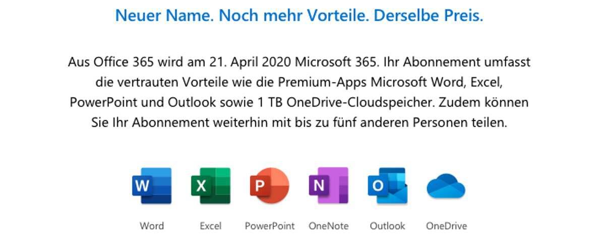 Microsoft 365 – Neuer Name und neue Funktionen