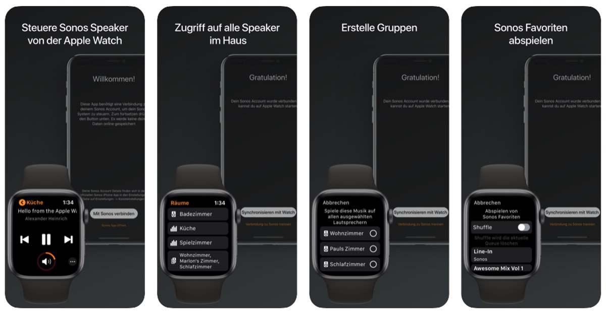 Sonos Lautsprecher über die Apple Watch steuern