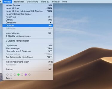 Tutorial – Dateien aus dem Finder drucken