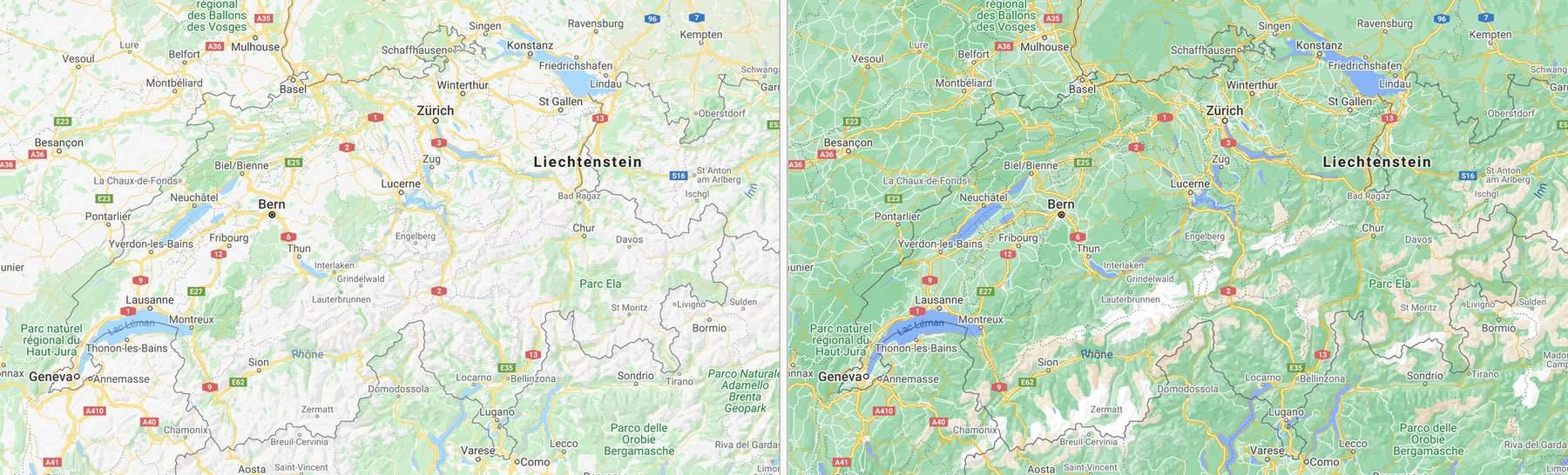 Google Maps Schweiz - mit mehr Details