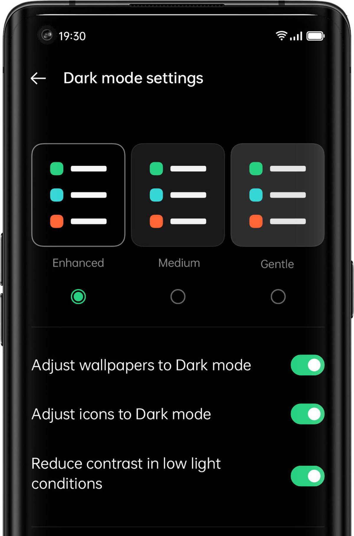 Dreifacher Dark Mode