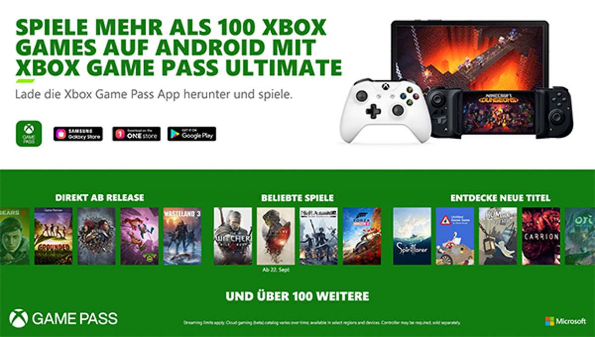 Cloud Gaming in XBox Game Pass Ultimate mit 150 Titeln