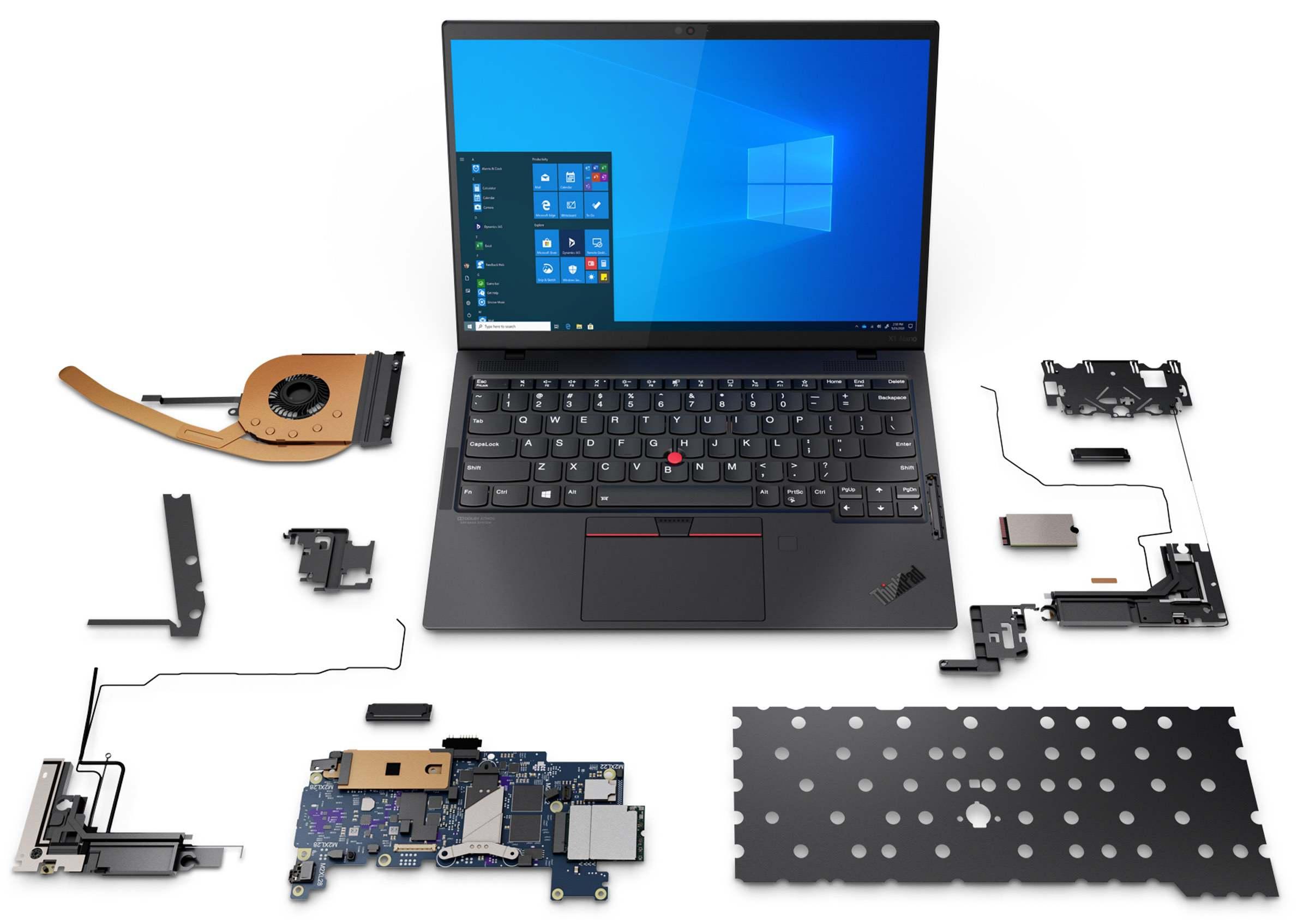 Die Einzelteile des ThinkPads