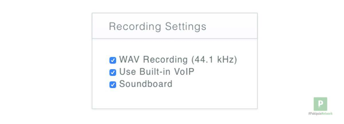 Die Recording Einstellungen