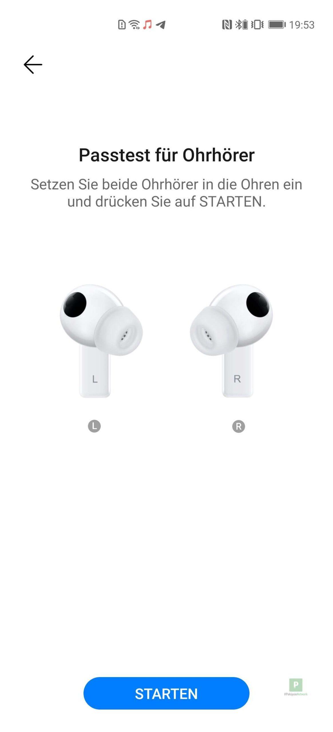 Passtest für Ohrhörer wird durchgeführt