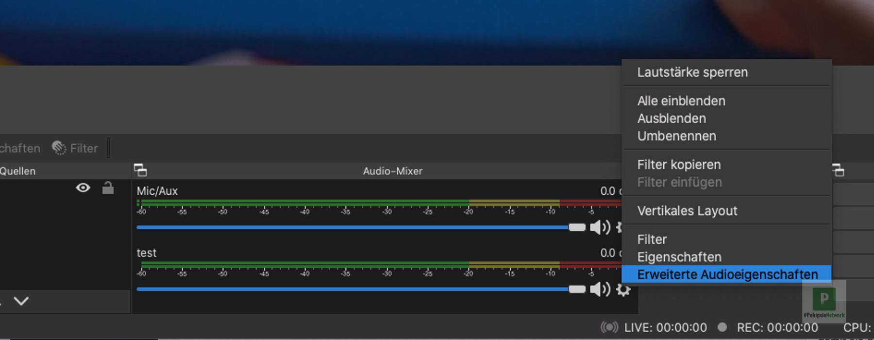 OBS - Erweiterte Audioeigenschaften